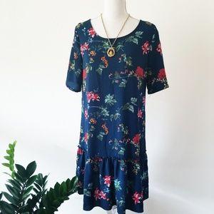 Deep Teal Blue Drop Waist Floral Dress